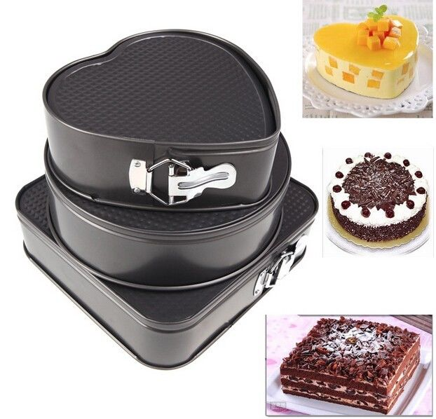 3 Pieces/Set Round Square Heart Shaped Baking Mould Tins