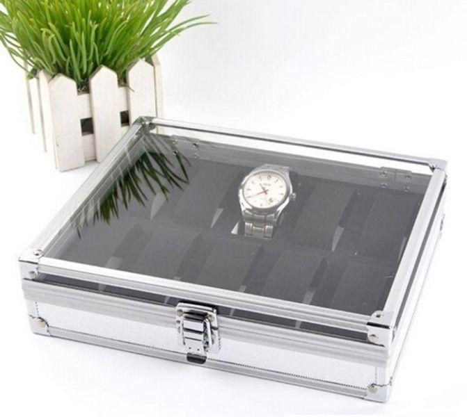 Aluminium/BLACK Watch Storage Case Bracelet Organiser Display Box Holders Glass Top
