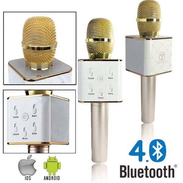 Gold Bluetooth Microphone with Built-In Speaker