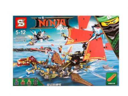 2017 ninja movie Thunder fire double dragon sky ship building block model Garmadon Kai Jay figures