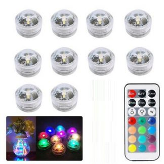 10PC Underwater LED Tea Lights, Submersible RGB Multicolor Waterproof DECOR lights