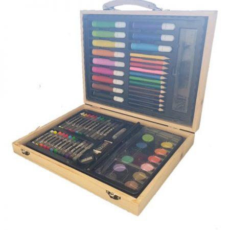 ART SET IN WOODEN BOX 55PC